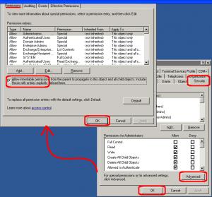 exchange fix user rights error