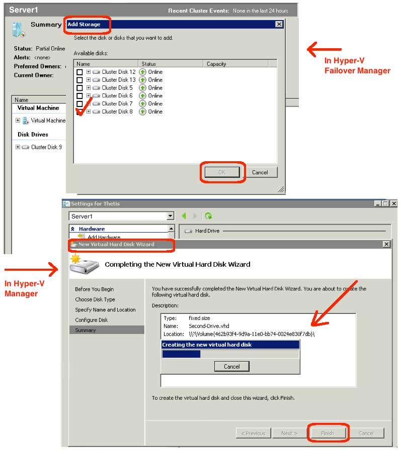 Attaching Storage to a Hyper-V Guest within a Failover Cluster