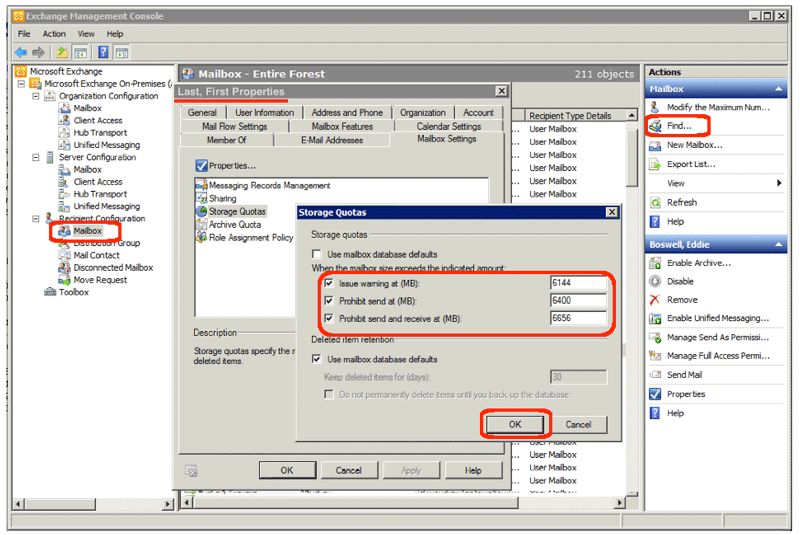 Changing User Storage Limits in Exchange 2010