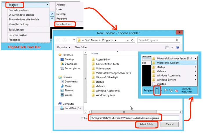 how to create the start menu bar in windows 8
