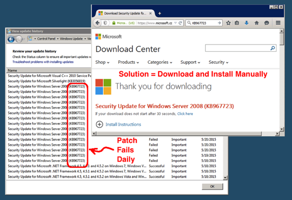microsoft software center download failed