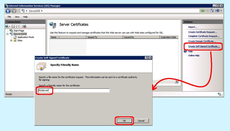Creating a Self-Signed Certificate in IIS7