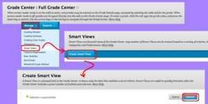 Create SmartView in coursesites