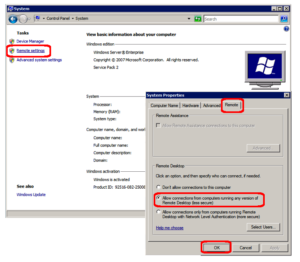Enabling Remote Desktop on Server 2008 R2